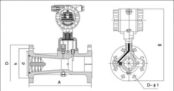 旋進旋渦流量計結構圖